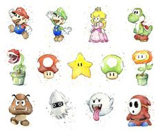 Mario Character Watercolors by olechka