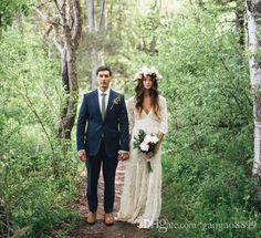 Vintage-Inspired Hippie Maxi Lace Bohemian Long Sleeve Wedding Dresses 2016 Crochet V-neck Beach Boho Cheap Wedding Gowns Plus Size