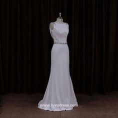 Fashion simple but elegant handmade crystal beaded backless real wedding dress