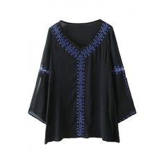 Essential V Neckline Black Embroidered Sheer Blouse OASAP.COM (27 CAD) ❤ liked on Polyvore featuring tops, blouses, black top, silk blouses, black sheer blouse, see through tops and transparent blouse