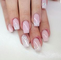 Glittered pink nails
