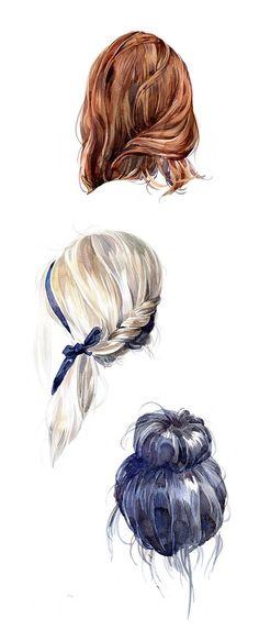 Penteados. Cabelo. Desenho. Realista. Arte.