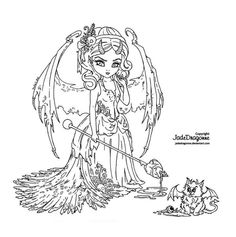 Victorian Succubus - Lineart by JadeDragonne on DeviantArt Blank Coloring Pages, Fairy Coloring Pages, Coloring Sheets, Coloring Books, Colorful Drawings, Colorful Pictures, Free Adult Coloring, Outline Drawings, Digi Stamps