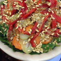 Roast vegetable salad with mustard seed dressing
