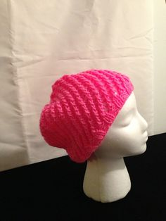Bright Pink hand knitted slouch hat by 1finedesign on Etsy, $15.00