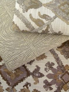 Mosaic Field: a traditional floral Kilim with a luxe twist in rich neutral tones.  Paired here with Cut Carat in Pearl, a unique Italian jacquard with subtly undulating circles.  Fabrics shown top to bottom: Mosaic Field, Pearl; Cut Carat, Pearl
