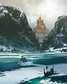 Norse village painting by master concept artist @sparth