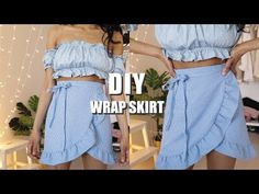 DIY wrap skirt with Ruffle! In this video, you will learn how to make a ruffle wrap skirt with tie fastening. There is also a written tutorial for the DIY ru. How To Make Skirt, How To Make Clothes, Sewing Clothes, Diy Clothes, Sewing Coat, Skirt Patterns Sewing, Skirt Sewing, Pattern Sewing, Wrap Skirt Patterns