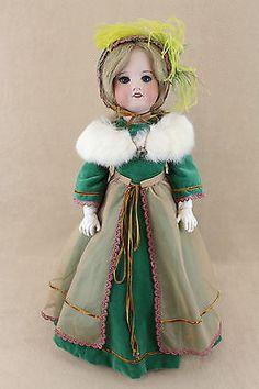 Antique (pre-1930) Vintage French Jointed Collector Girl Doll In Black Velvet Dress. Dolls & Bears