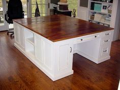 double desk for home office | SAVE SOME $$$ with this idea. Double desks and couple stock cabinets ...