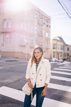 Gal Meets Glam White Leather Sneakers - Ann Taylor Jacket, R13 Tee, and Gucci Bag