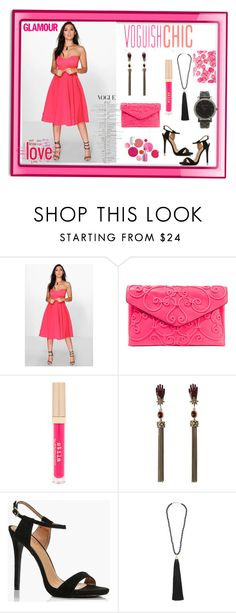 """""""Pretty Pink Attire"""" by paige-brrian ❤ liked on Polyvore featuring Boohoo, Valentino, Stila, Roberto Cavalli, Rosantica, Michael Kors and Clinique"""