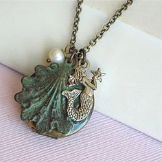 Mermaid Shell Locket Necklace  Verdigris Brass by mcstoneworks, $28.00