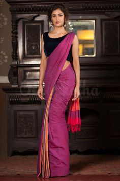 Buy Vichitra Silk Saree (Code: online from sourgrape's online Simple Sarees, Trendy Sarees, Stylish Sarees, Formal Saree, Casual Saree, Saree Poses, Saree Jewellery, Khadi Saree, Saree Photoshoot