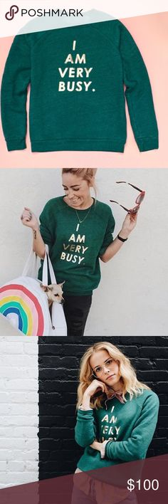 ban.do Sweatshirt BANDO -I Am Very Busy Limtd Edt 💖👀⭐ban.do sweatshirt ️I Am Very Busy Lmtd Edition XL Brand new.Never worn. Authentic.Generously sized.By ban.do (luv) green w gold ltrs very well made💙My motto. Omg✔️I bought 2 just because I'm crazy.mine is a Tad Smaller. I live in mine.I Posh in mine.I shop in mine.I Posh shop in mine💙 $Abv retail?yes. in no rush2get rid of this bcuz mine may b worn out soon anyhow.And THIS SS --it is Way DuperSuperCool 😎 Fo Sho   ❤️  ⭐️⭐️⭐️⭐️⭐️ty for…
