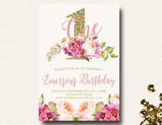 Floral Birthday Invite Boho Chic Pink and Gold by DesignOnPaper