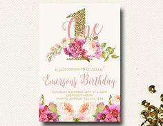 Girl's First Birthday.  Floral Birthday Invitation.  Boho Chic.  Glitter Invitation.