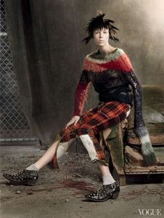 Rebelliously Eccentric Editorials - Edie Campbell Rocks Punk Apparel for Vogue in May 2013 (GALLERY)