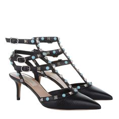 Valentino Rockstud Rolling Ankle Strap High Heel Pump Native Collection Nero Pumps bei Fashionette
