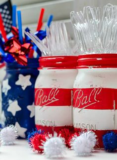 Flag Mason Jars ~ just one fun idea of many in this American Flag party theme!