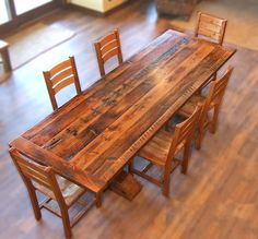 reclaimed wood dining table and chairs - Google Search