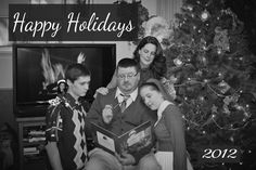 Christmas family picture 2012..... flash back to the 70's ;)