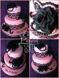 Pink and black lace wedding cake