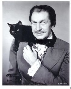 Men with cats. Vincent Price with black cat. Friday The 13th Memes, Happy Friday The 13th, Funny Friday, Quotes Friday, Vincent Price, Crazy Cat Lady, Crazy Cats, I Love Cats, Cool Cats