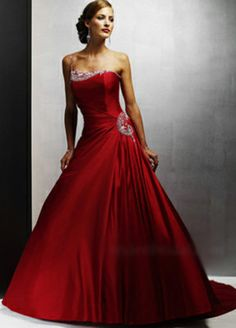 One-Piece Simple Embroidered Zipper Dropped Waist Red Wedding Dress