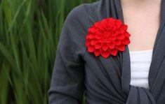 DIY felt dahlia flower brooch