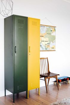 The Skinny in Olive by Mustard Made - The Skinny Locker wants to help. She'll keep your stuff neat and tidy. Standing alone or in paired with friends The Skinny is elegant, beautiful and practical. Storage for your kids room, home or work space. Vintage Lockers, Metal Lockers, Lounge Design, Industrial House, Industrial Style, Industrial Lockers, Inside Doors, Bedroom Cabinets, Hanging Rail