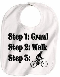STEPS crawl walk bicycle bike  FUTURE biker baby bib. $7.75, via Etsy.