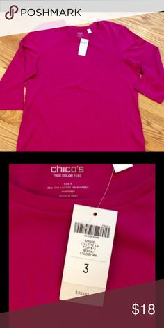 NWT CHICO'S TEE. FUCHSIA PINK. XL SZ 3. FIRM 3/4 length sleeves. Cotton and spandex. NWT. Chico's Tops