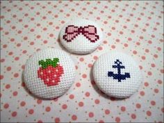 Super Easy Cross Stitch Fabric Covered Buttons!