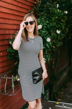 A striped tee dress for summer.