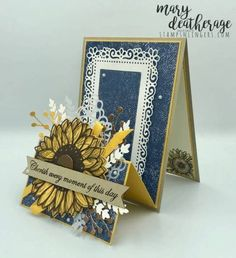Birthday Cards For Women, Birthday Greeting Cards, Happy Birthday Cards, Fancy Fold Cards, Folded Cards, Wedding Cards Handmade, Handmade Cards, Sunflower Cards, Bee Cards
