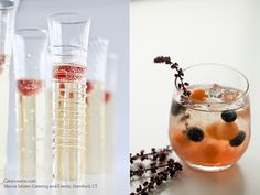Creative champagne glasses and cantaloupe orb garnishes