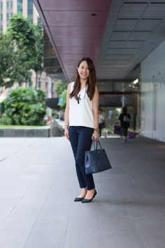 SHENTONISTA: In A New World. Rachel, Entrepreneur. Pants from Gap, Bag from Prada, Watch from Bering, Bracelet from Pandora. #shentonista #theuniform #singapore #fashion #streetystyle #style #ootd #sgootd #ootdsg #wiwt #popular #people #male #female #womenswear #menswear #sgstyle #cbd #Gap #Prada #Bering #Pandora