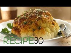 Cheesy Roasted Cauliflower - Easy Meals with Video Recipes by Chef Joel Mielle - Rice Side Dishes, Vegetable Sides, Vegetable Side Dishes, Vegetable Recipes, Vegetarian Recipes, Cooking Recipes, Healthy Recipes, Easy Recipes, Vegetable Stock