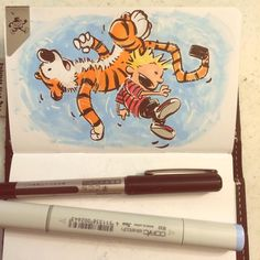 I don't think that Waterson guy likes us Hobbes.  Oh?  Nope. As often as he's hurled us through the air he couldn't.  30 years ago today. #calvinandhobbes @sketchwallet #sketchwallet #calvin #hobbes #Kuretake #copicmarkers #sketchbook #sketch #art #inking