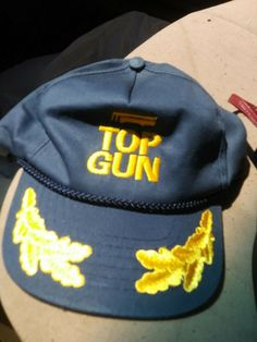 d4a82f4b Vintage TOP GUN Snapback Trucker Hat Blue Yellow Mesh Movie Navy Hat cap  never w #