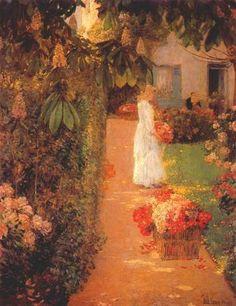 "windypoplarsroom:  Childe Hassam  ""Gathering Flowers in a French Garden"""