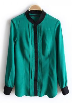 Green Single Breasted Band Collar Cotton Blouse