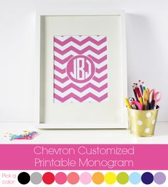 Free customized chevron printable.  Just type in your initials and print off this fabulous print!