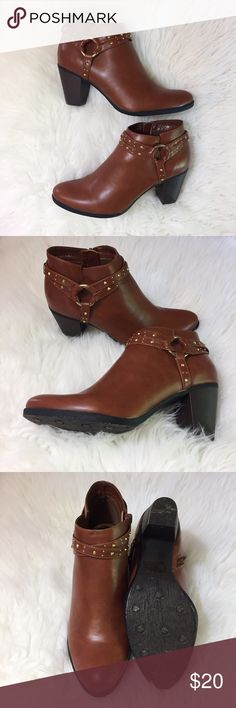 """C Label Anke Boots-Cognac-Sz 8 EUC C Label Anke Boots-Cognac-Sz 8 EUC--Faux leather upper Wrap around strap with stud accents Side zip for easy pull on Round toe 2½"""" chunky heel Manmade sole C Label Shoes Ankle Boots & Booties"""