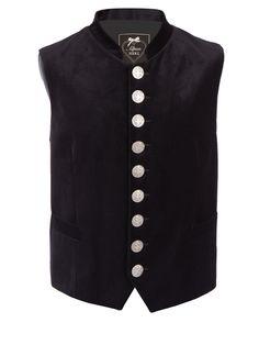 Diese edle schwarze Trachtenweste von AlpenHerz überzeugt in stilvollem Royal Baumwollsamt.