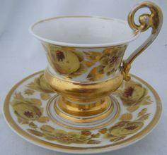 An Antique C1800s French Paris Porcelain Empire Shape Cup & Saucer. Rose Design
