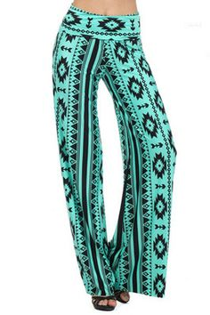 Popular Womens Mint Aztec Tribal Wide Palazzo Pants.. would be cute to wear for bed but i dont think i could wear these out lol