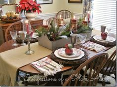A Farmhouse Christmas in the Dining Room Farmhouse christmas Holiday table decorations