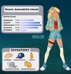 Now presenting Annabeth's video game character sheet! 💖 Designing her official outfit was so fun, I'm trying to make everyone fashionable… You are in the right place about Video Games retro Here we of Percy Jackson Film, Percy Jackson Characters, Percy Jackson Memes, Percy Jackson Fandom, Percy And Annabeth, Annabeth Chase, Percabeth, Solangelo, Leo Valdez